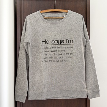 Matching sweatshirts with texts for couples