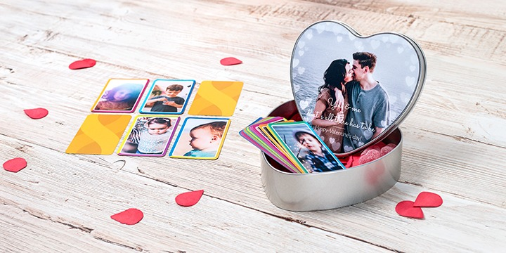 Personalised heart shaped cookie tin with cards game