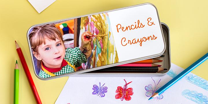 Boîte personnalisée pour stylos et crayons
