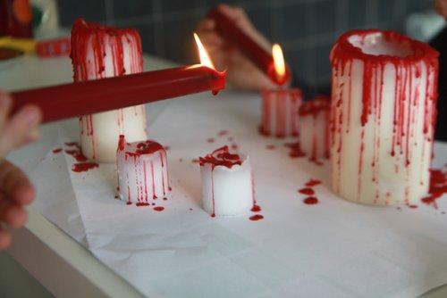 DIY déco halloween : bougies ensanglantées pour Halloween