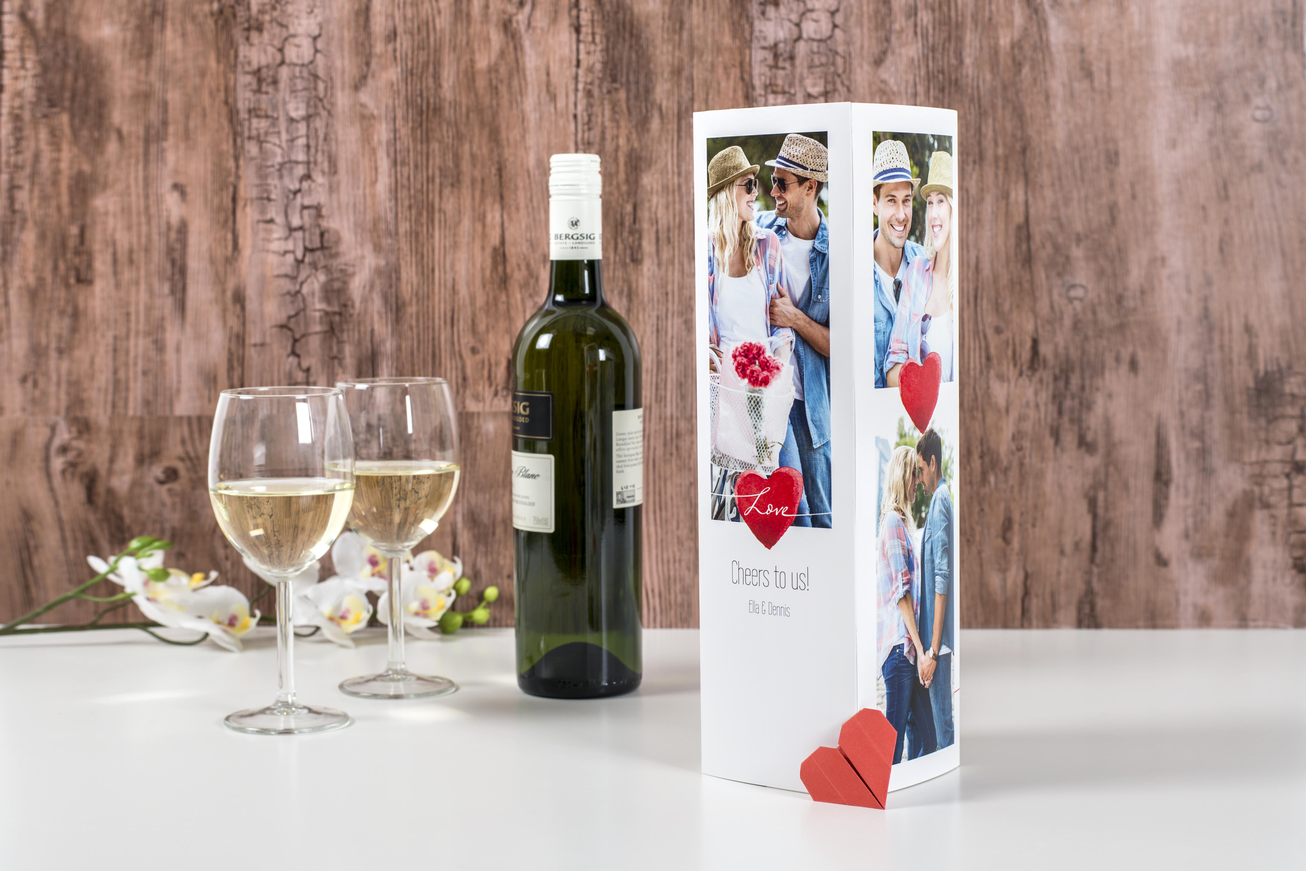 idee cadeau saint valentin homme personnalise boite bouteille de vin photo