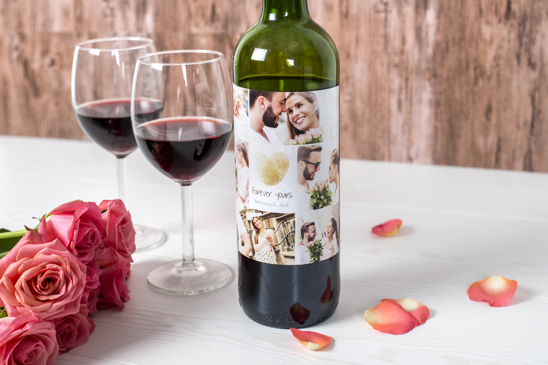 cadeau saint-valentin homme personnalisé: bouteille de vin et étiquette photo
