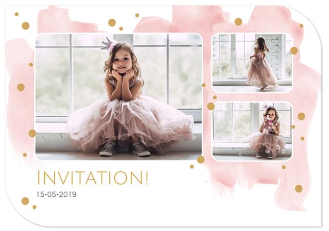 Faire-part de communion - design smartphoto avec un fond aquarelle rose et des points dorés
