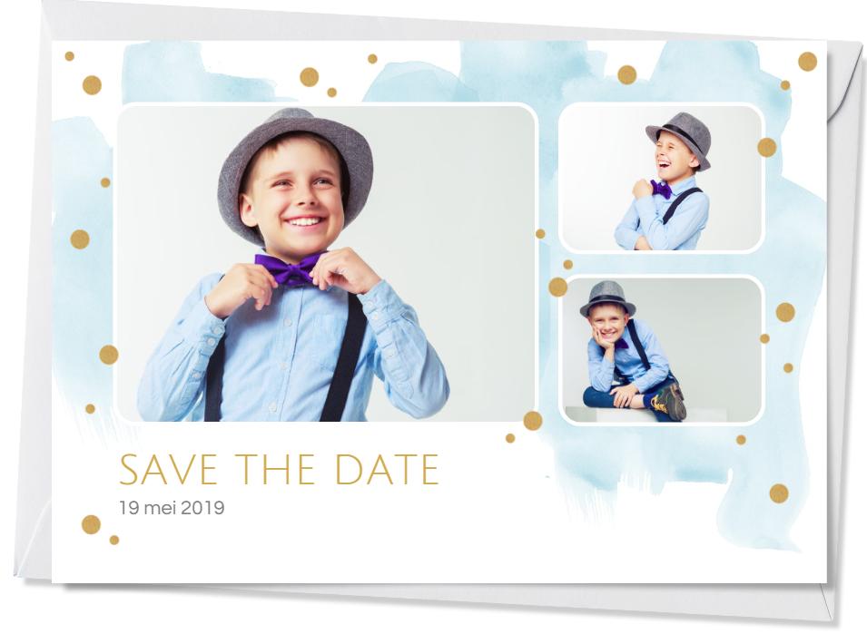 """Faire-part de communion """"save the date"""" avec design aquarelle bleu à pois dorés et 3 photos d'un petit garçon"""