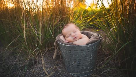 Portrait d'un bébé endormi dans un panier, avec le l'herbe en arrière plan, et la lumière dorée du soir.