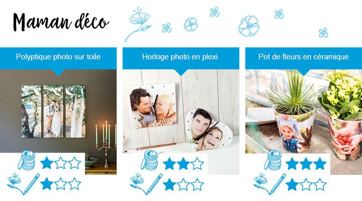 3 idées de cadeau parfait de fête des mères pour la maman qui aime décorer sa maison. Polyptique photo sur toile, Horloge photo en plexi, Pot de fleurs en céramique.