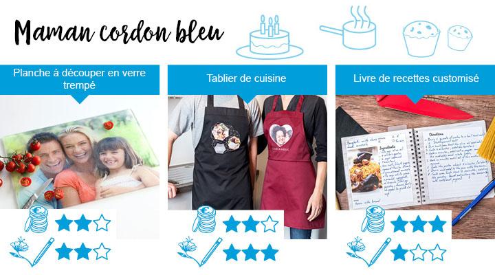 3 idées de cadeau parfait de fête des mères pour la maman qui aime cuisine. Planche à découper en verre trempé, tablier de cuisine, livre de recettes customisé.