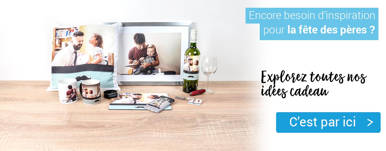 Cliquez sur cette image pour explorer notre sélection de cadeaux photo personnalisés pour la fête des pères