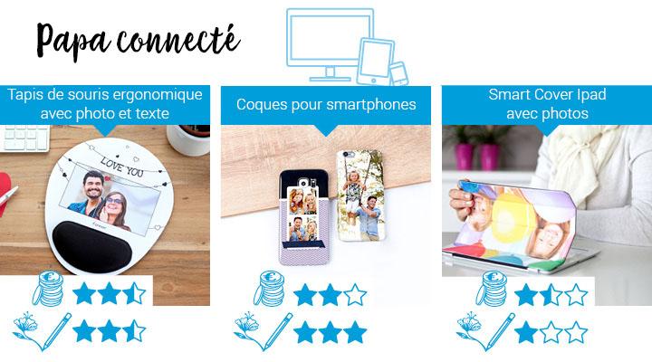 Cadeaux pour papa connecté, geek: tapis de souris ergonomique avec photo et texte, coques pour smartphone, smartcover ipad avec photo.