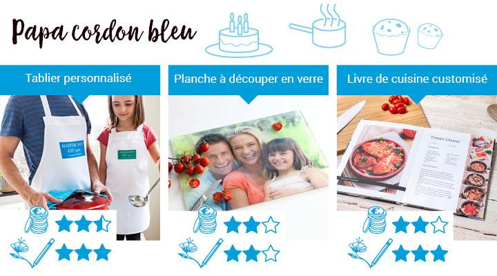 Cadeaux pour papa qui aime cuisiner: tablier personnalisé, planche à découper en verre, livre de cuisine customisé