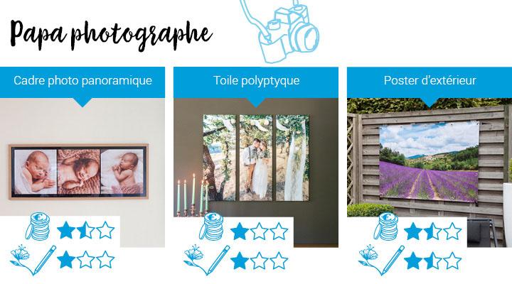 Cadeau pour papa fan de photo: cadre photo panoramique, toile polyptique, poster d'extérieur