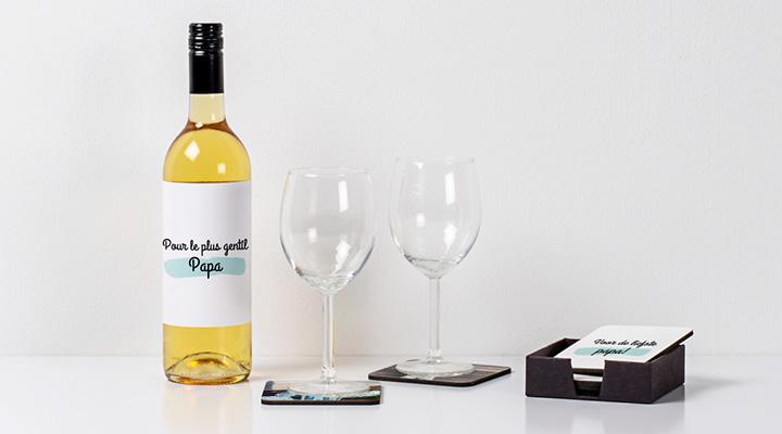 Bonne fete papa ! citations et mots d'amour - sur une bouteille de vin