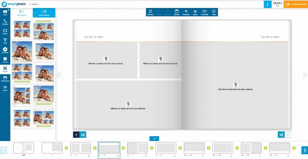 Choisir une mise en page: impression d'écran du créateur de livre photo smartphoto