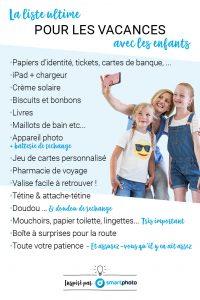 """Résumé visuel de l'article """"La liste ultime pour les vacances avec les enfants"""" - smartphoto.be/fr"""