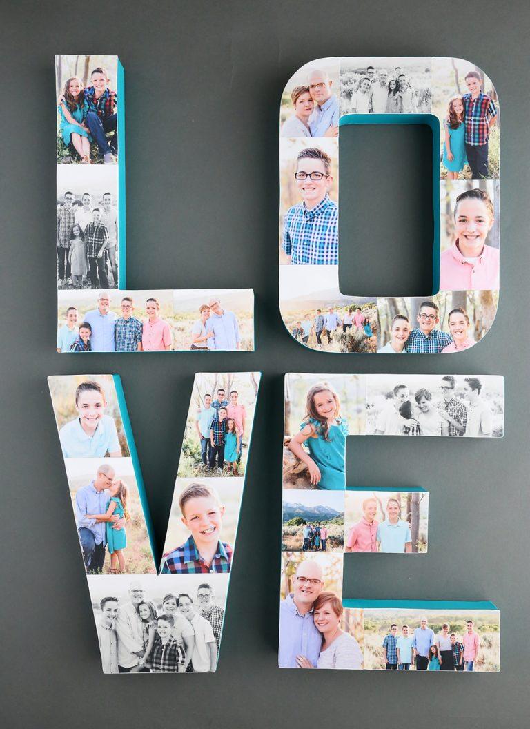 Imprimer des photos - lettres décorées en carton