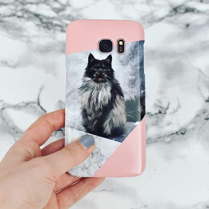 Coque de téléphone avec photo de chat et design marbre blanc zuckerundzimtdesign