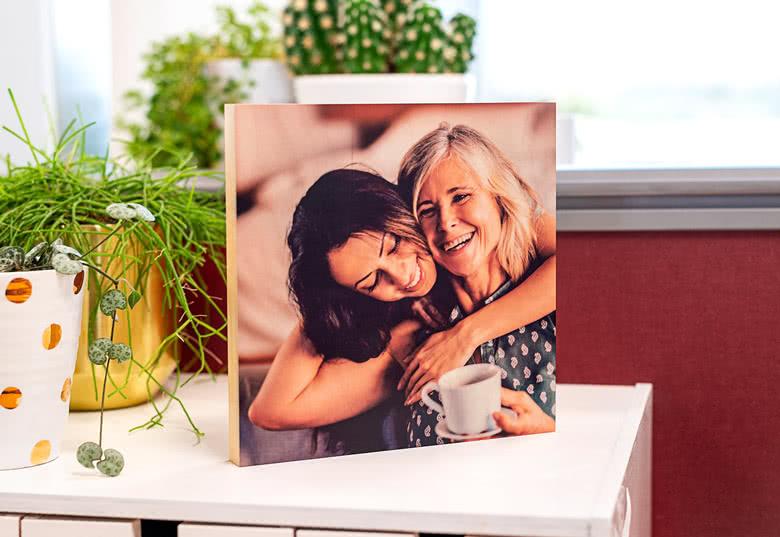Cadeau de noël de dernière minute  la photo sur bloc de bois