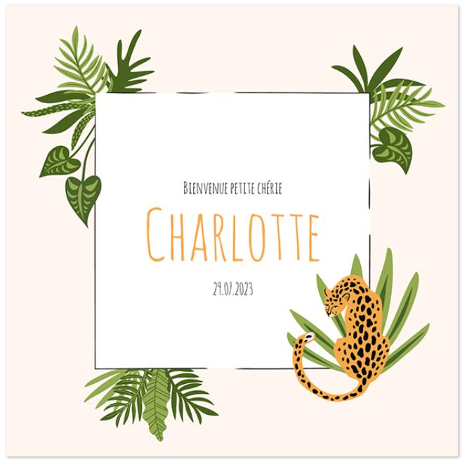 Faire part de naissance sans photo thème jungle léopard Charlotte