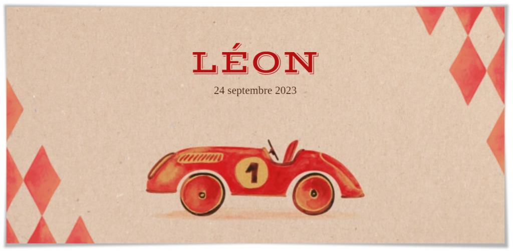 Faire-part de naissance sans photo petite voiture rétro - Léon