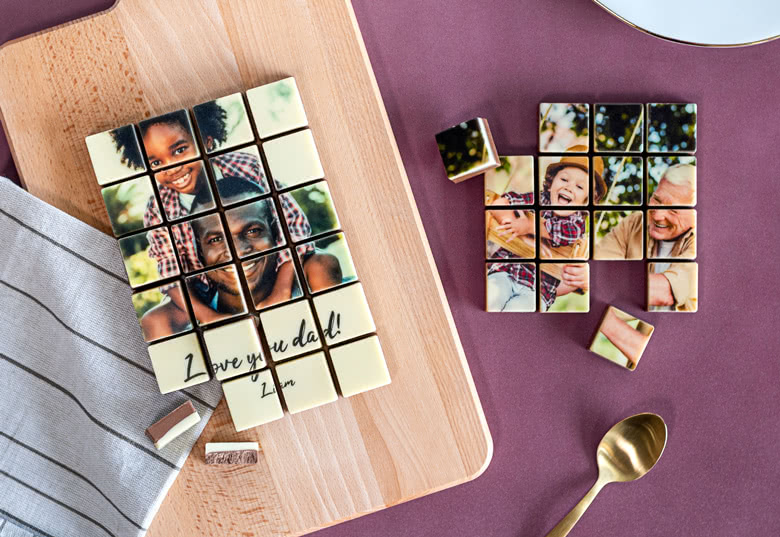 """""""Love you dad"""" chocolat personnalisable avec une photo et une citation"""