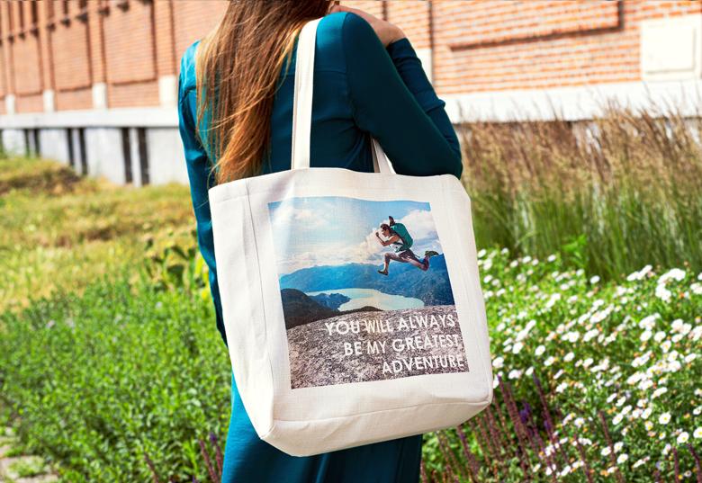 sac en toile personnalisé smartphoto, pour abandonner les sacs en plastique