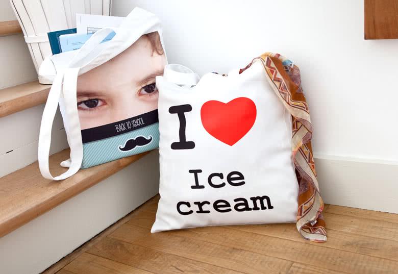 tote bag personnalisé smartphoto, pour abandonner les sacs en plastique