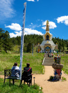 sitting to look at the stupa