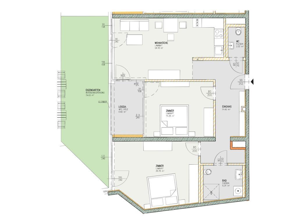 Wohnung Kauf Niederösterreich Krems an der Donau Krems an der Donau 2417/7595  3 Plan
