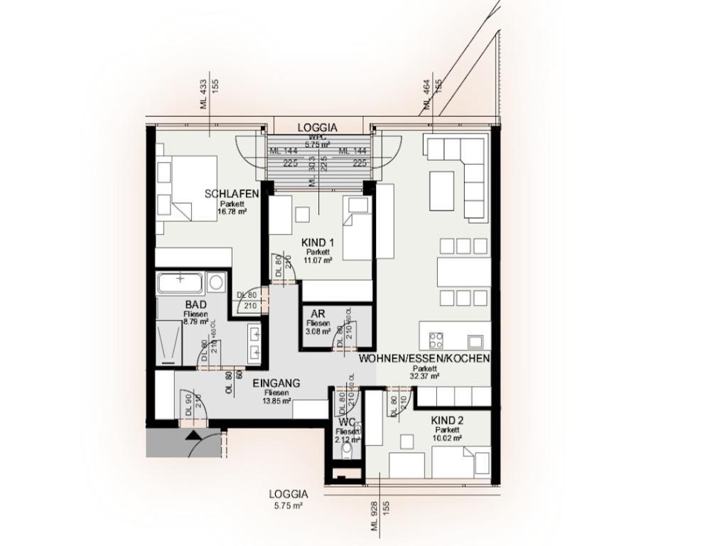 Wohnung Kauf Niederösterreich Krems an der Donau Krems an der Donau 2417/7599  9 Plan