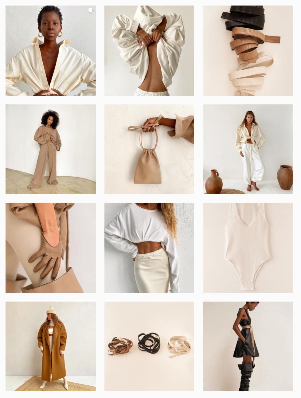 Пример гармоничной ленты бренда одежды Ushatava (крупные, дальние и средние планы)