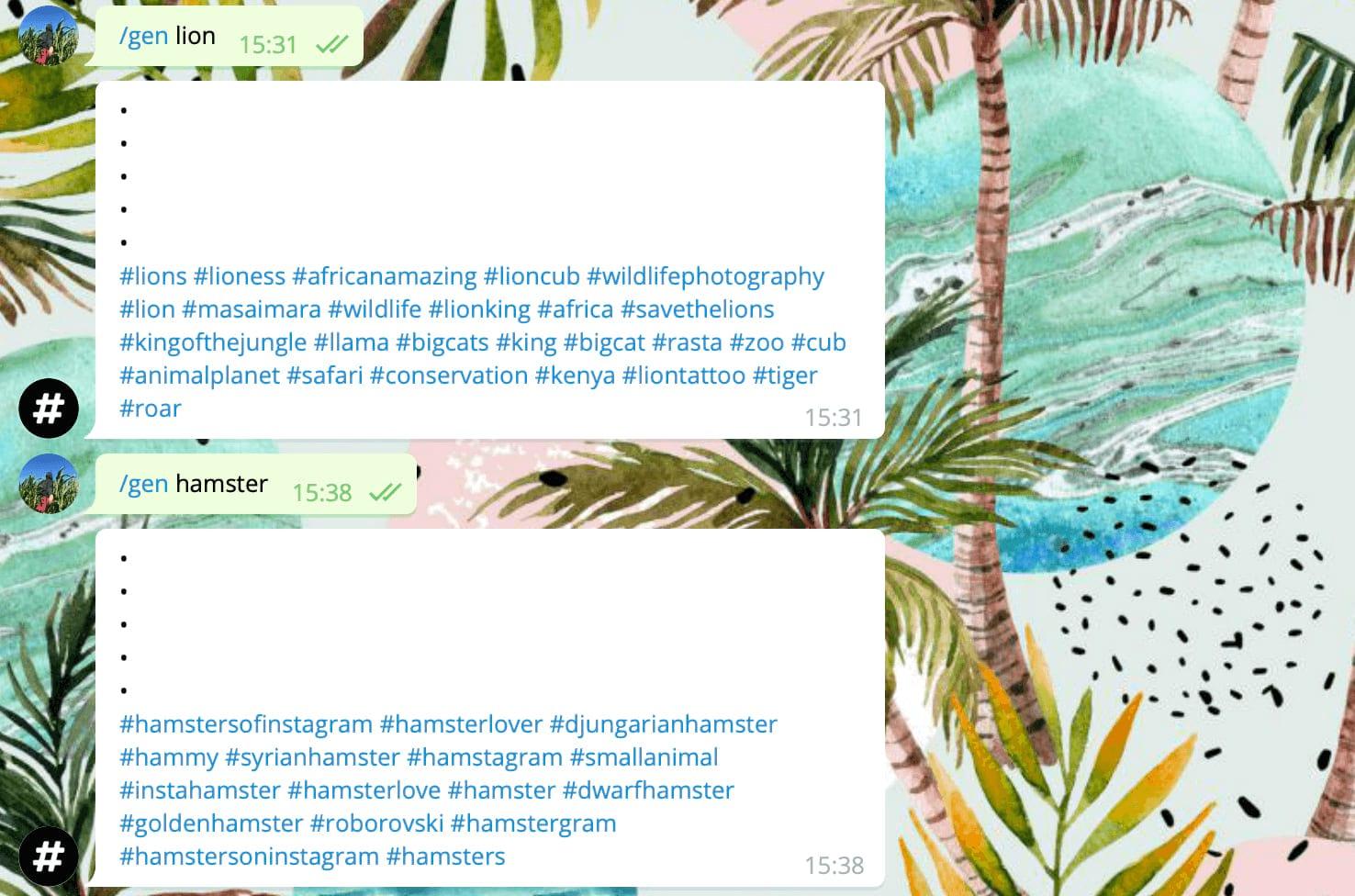 Пример использования Hashtags Generator Bot