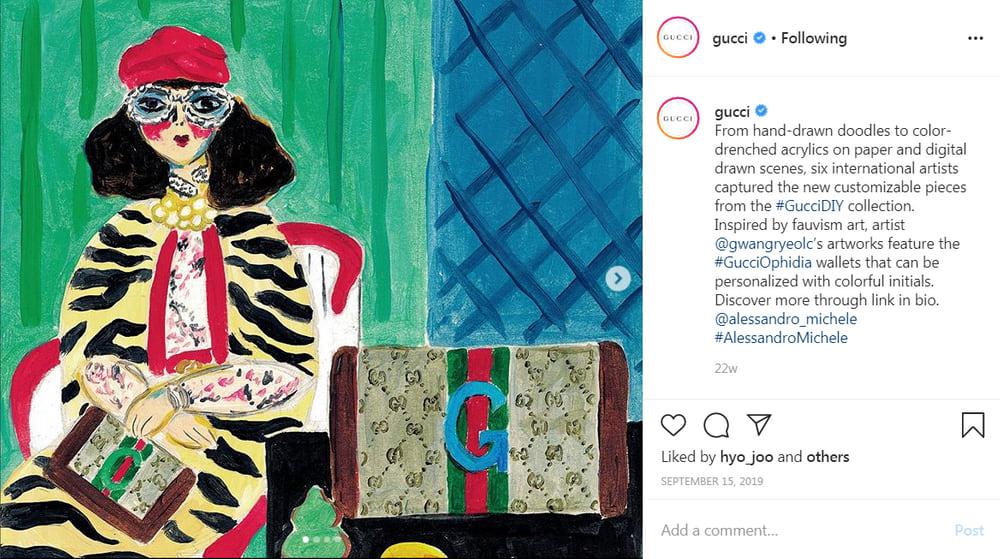 Модный дом Gucci сотрудничает с художниками для разработки анимационных постов