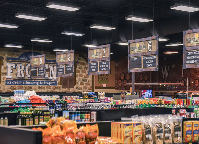 grocery store aisles at fields foods in st. louis