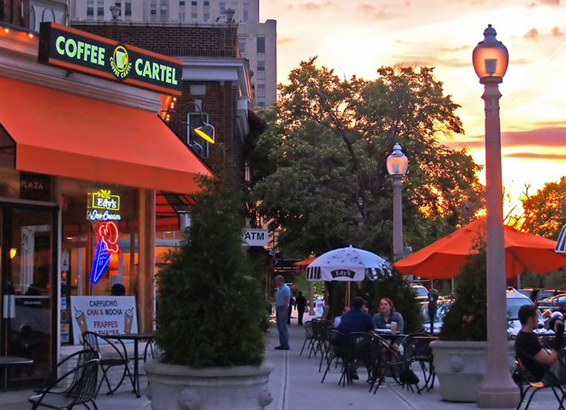exterior of coffee cartel in st. louis at sunset