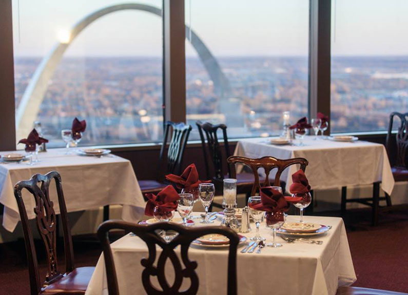 view of downtown st. louis from kemoll's restaurant at the top of the metropolitan square building in st. louis