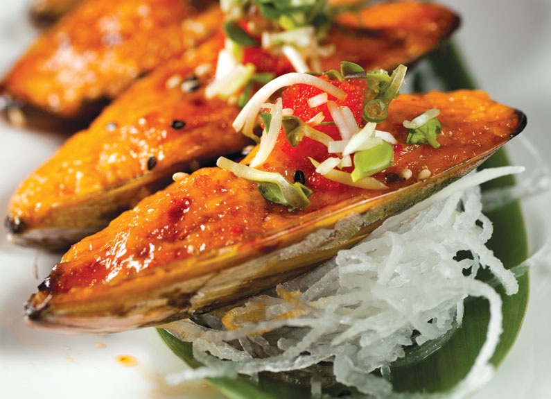 Spicy baked New Zealand mussels at Kabuki Sushi & Fusion in Ballwin