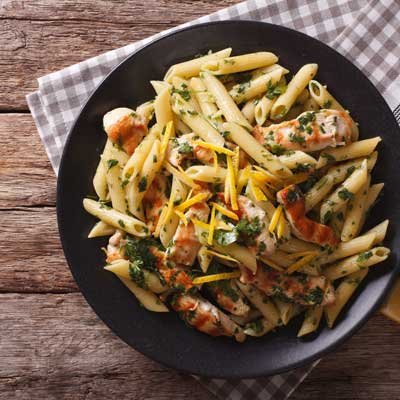 a bowl of pasta with chimichurri
