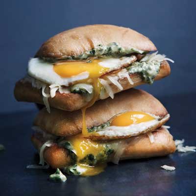 chimichurri egg sandwich with runny yolk
