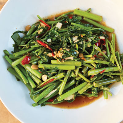 a dish of flash-fried water spinach