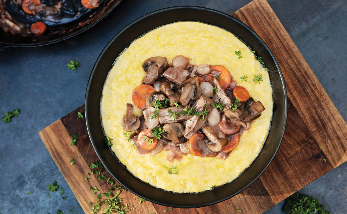 Wine-Braised Jackfruit with Creamy Polenta