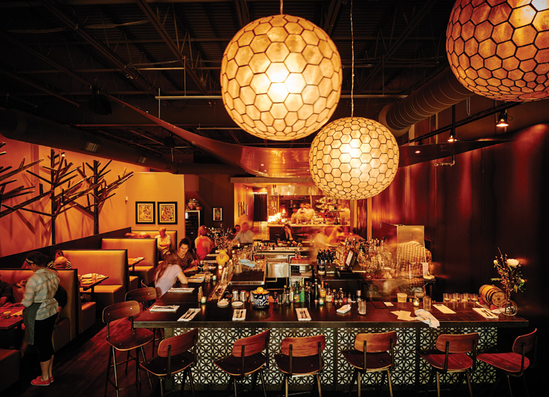 an overhead shot of the dining room at público