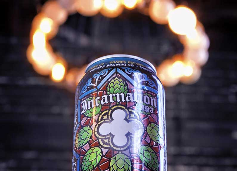 a can of 4 hands incarnation ipa