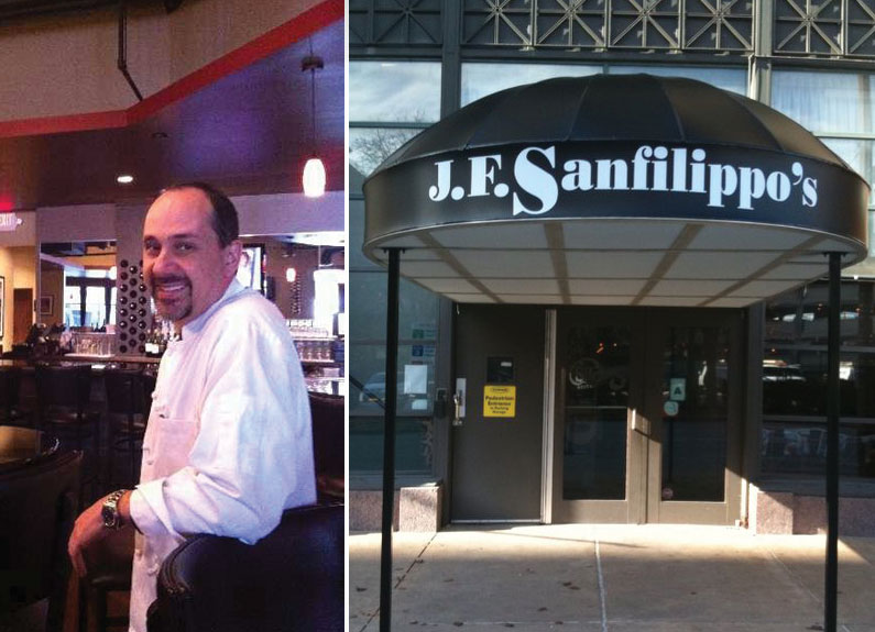 at left, a smiling man sitting at a bar; at right, the awning outside J.F. Sanfilippo's Italian Restaurant