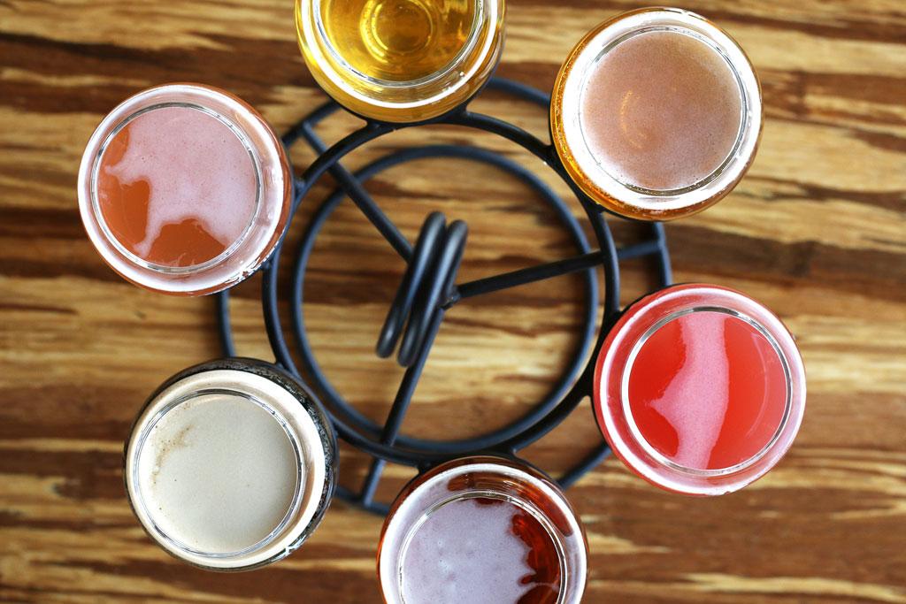 Beer flight at Growler USA