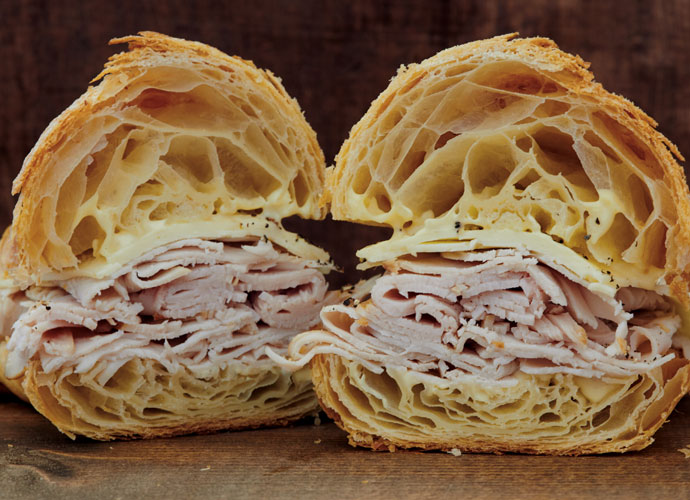 Turkey sandwich on a croissant at Nathaniel Reid Bakery in Kirkwood