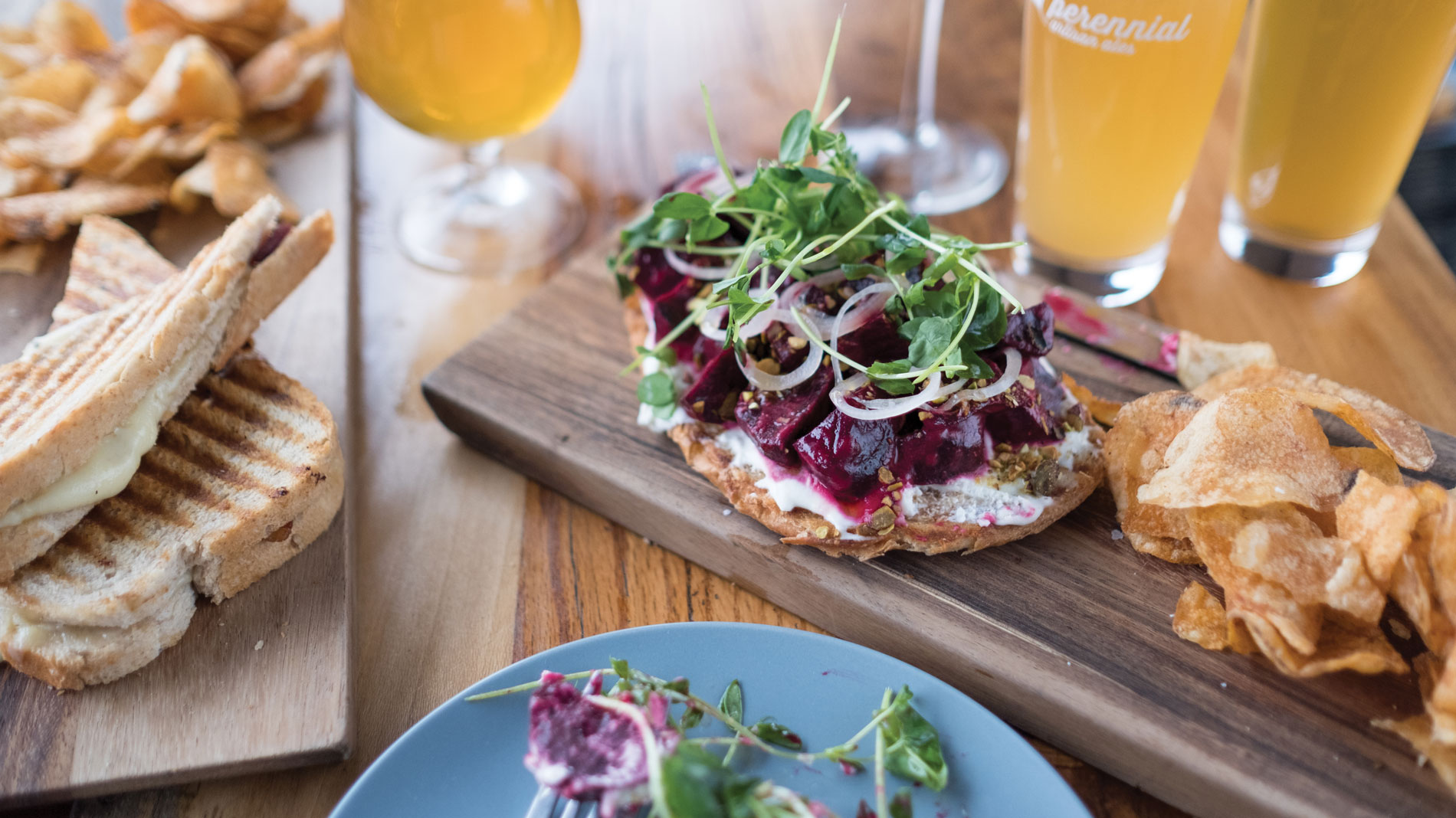 grilled cheese and tartine at perennial artisan ales