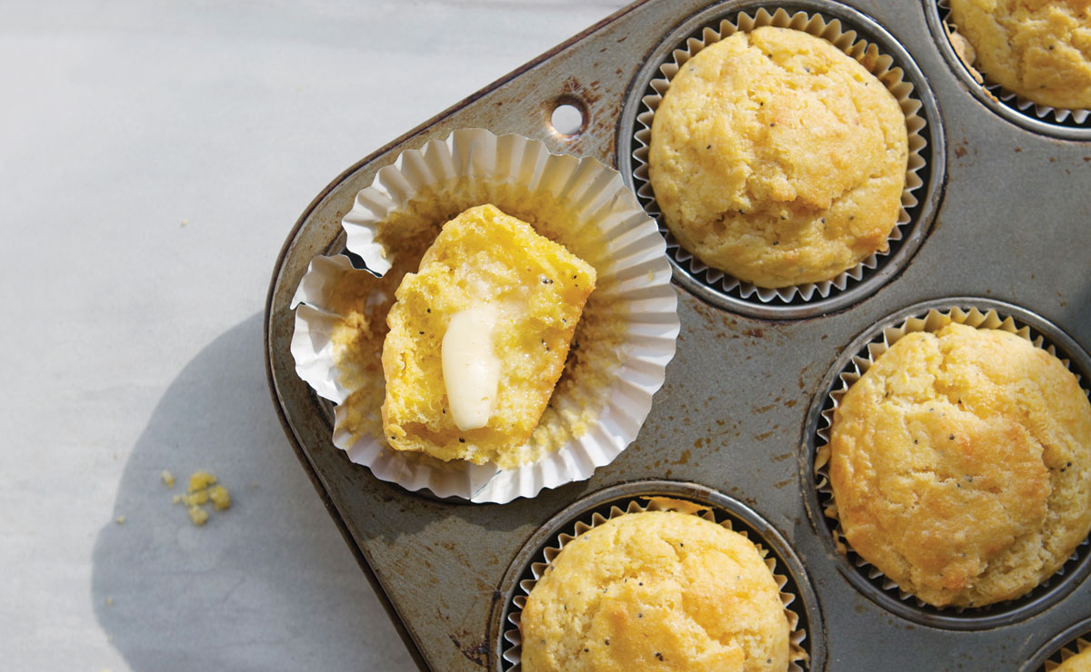 Everything-Cheddar Corn Muffins