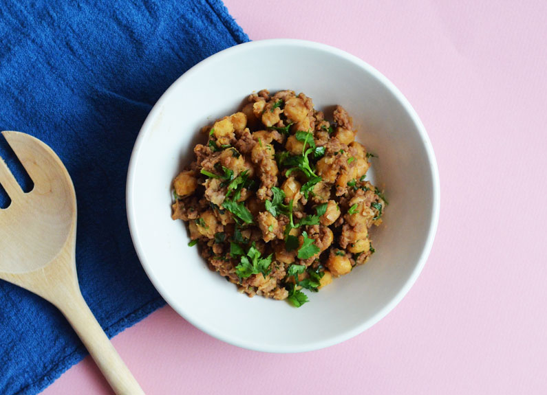 spicy chickpeas and beef recipe inspired by mark bittman