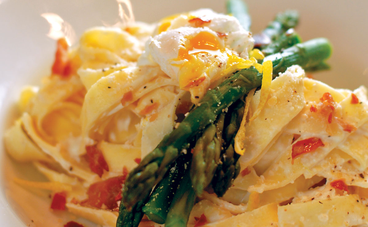Fettuccine Primavera with Goat Cheese, Crisp Prosciutto and Poached Quail Egg