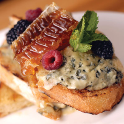 Blue Cheese and Honeycomb Crostini